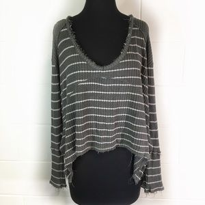 Free People Sunset Park Drippy Thermal Olive Top